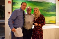 Colin Roberts accepts his teams winners award for the last day from Tim and Holidays4Golfers' Claire
